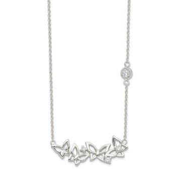 Sterling Silver CZ 17.5in Butterfly Necklace