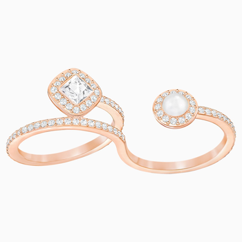 Angelic Pearl Double Ring, White, Rose-gold tone plated