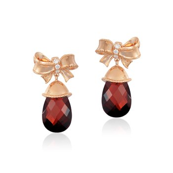 14KP 1/15CTW Snow White Bow Earring