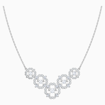 Sparkling Dance Flower Necklace, White, Rhodium plated