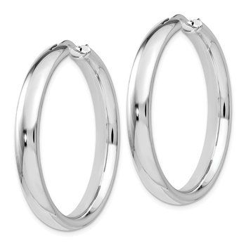 Leslie's Sterling Silver Rhodium-plated 5mm Half Round Tube Earrings