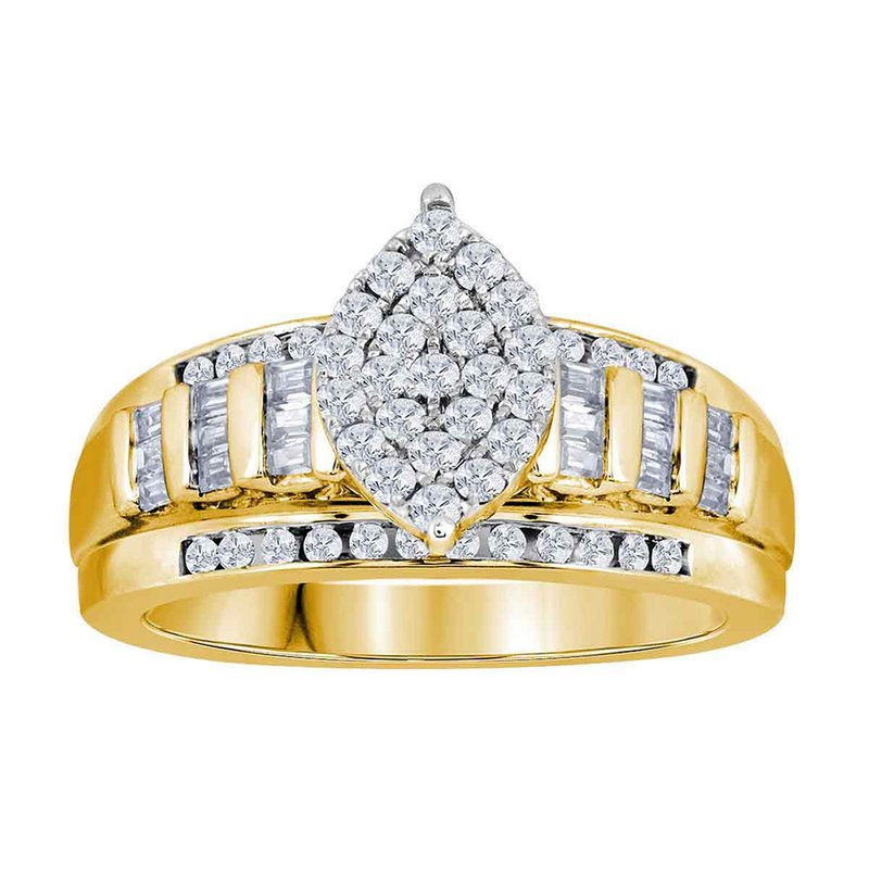 Gold-N-Diamonds, Inc. (Atlanta) 10kt Yellow Gold Womens Round Diamond Oval Cluster Bridal Wedding Engagement Ring 3.00 Cttw