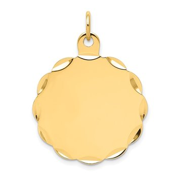 14k .018 Gauge Engravable Scalloped Disc Charm