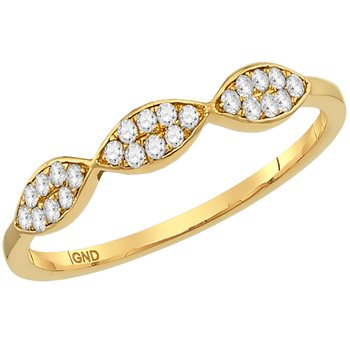 10kt Yellow Gold Womens Round Diamond Oval Cluster Stackable Band Ring 1/8 Cttw