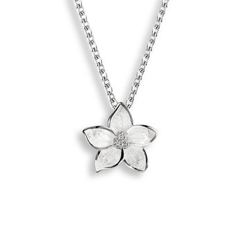 White Stephanotis Necklace.Sterling Silver-White Sapphire