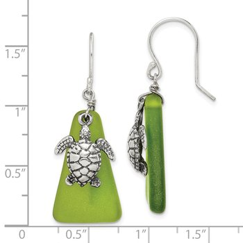 Sterling Silver Green Sea Glass Turtle Dangle Earrings