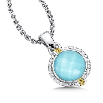 Sterling silver, 18k gold and turquoise fusion pendant