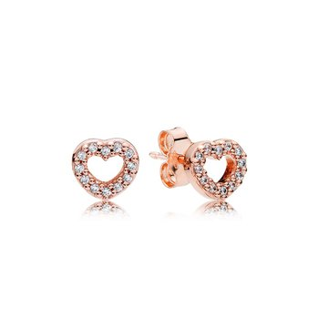 Captured Hearts Stud Earrings, Pandora Rose™  Clear Cz