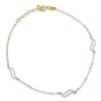14K Tri-color with Open S Links 9in Plus 1in ext. Anklet