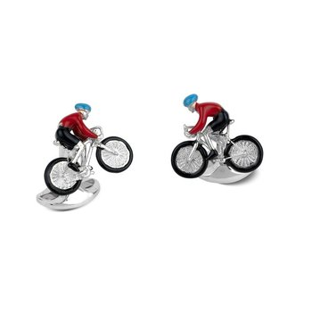 Sterling Silver bike and Rider Cufflinks in red and Black