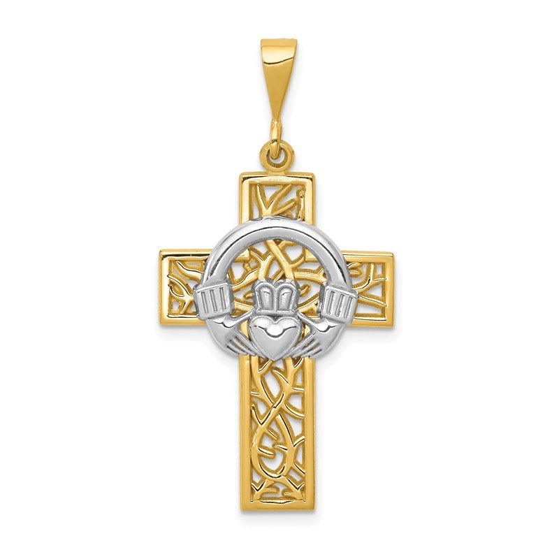 Quality Gold 14k Two-tone Claddagh Cross Pendant