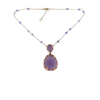 18Kt Gold Necklace With Lavender Jade, Pink Sapphires, Iolite And Diamonds