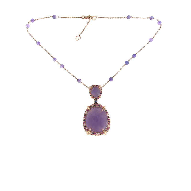 Roberto Coin 18Kt Gold Necklace With Lavender Jade, Pink Sapphires, Iolite And Diamonds