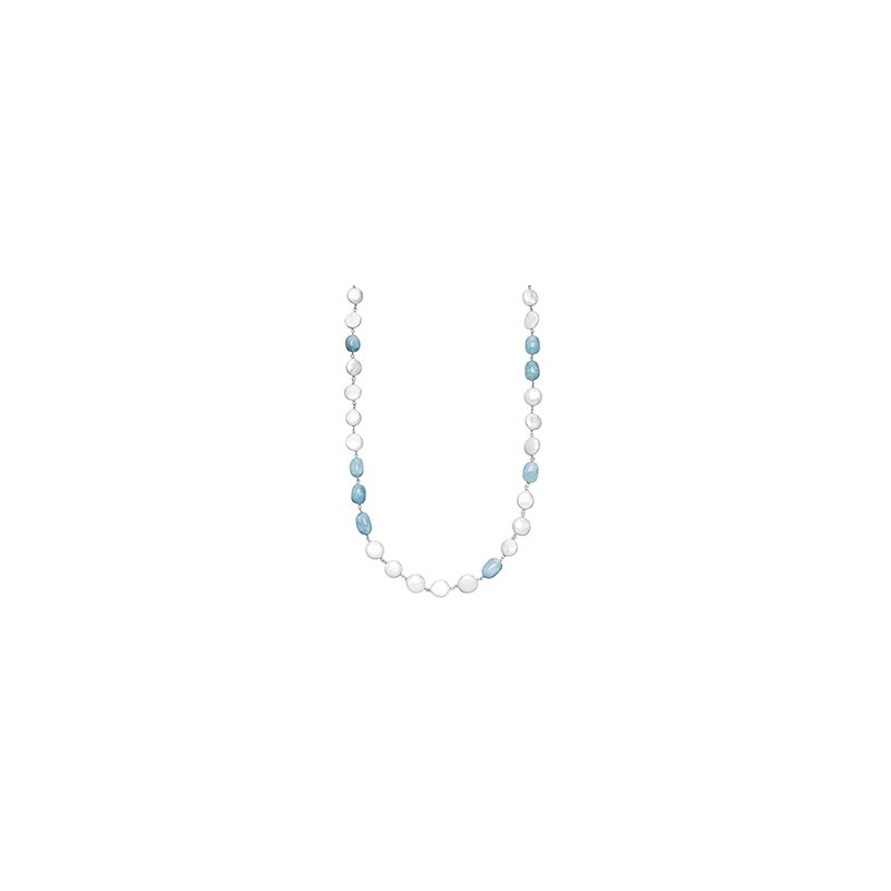 "Honora Honora Sterling Silver 12-14mm White Freshwater Cultured Pearl with Aquamarine 36"" Necklace"
