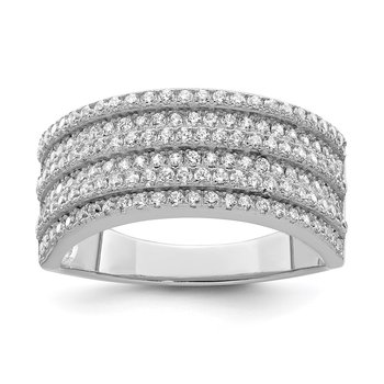 Sterling Silver Rhodium-plated CZ Wide Band Ring
