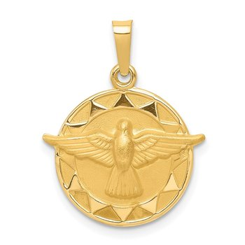 14k Holy Spirit Medal Hollow Round Pendant