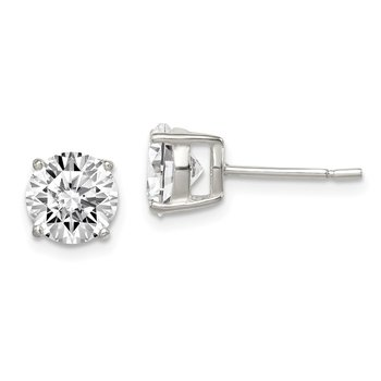 Sterling Silver Polished 7mm CZ Post Earrings