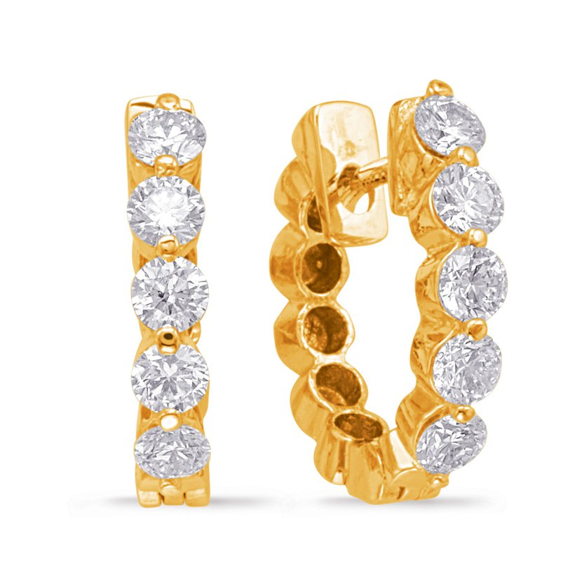 S. Kashi  & Sons Yellow Gold Diamond Oval Hoop Earring