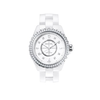 J12 White with Diamond Bezel and Indicators