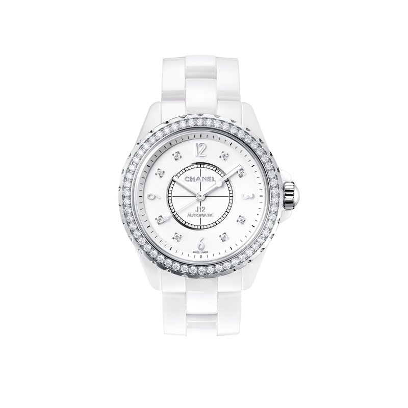 Chanel J12 White with Diamond Bezel and Indicators