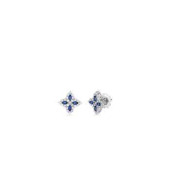 18K DIAMOND & SAPPHIRE MEDIUM FLOWER STUD EARRING