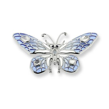 Blue Butterfly Brooch-Pendant.Sterling Silver-Blue Sapphires and Moonstone