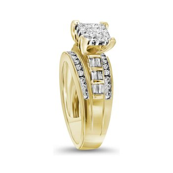 14kt Yellow Gold Womens Princess Diamond Cluster Bridal Wedding Engagement Ring 1/2 Cttw - Size 8