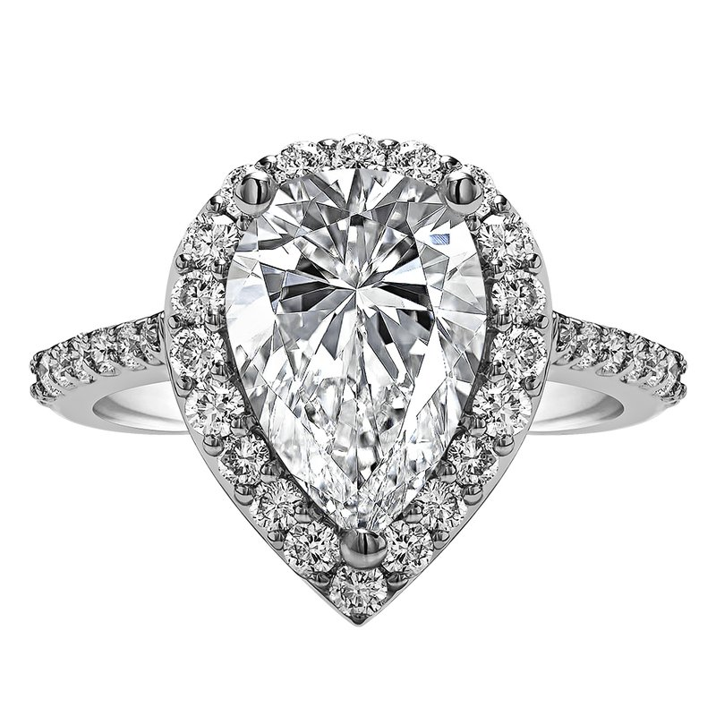 True Romance Pear Shape Halo Engagement Ring