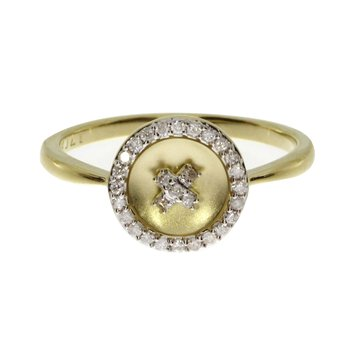 "14k Yellow Gold ""X"" Satin Button Ring"