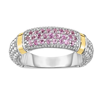 Silver & 18K Round Pink Sapphire Popcorn Ring