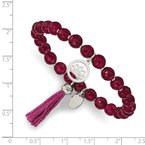 Chisel Stainless Steel Polished Lotus w/Tassel Pink Jade Beaded Stretch Bracelet