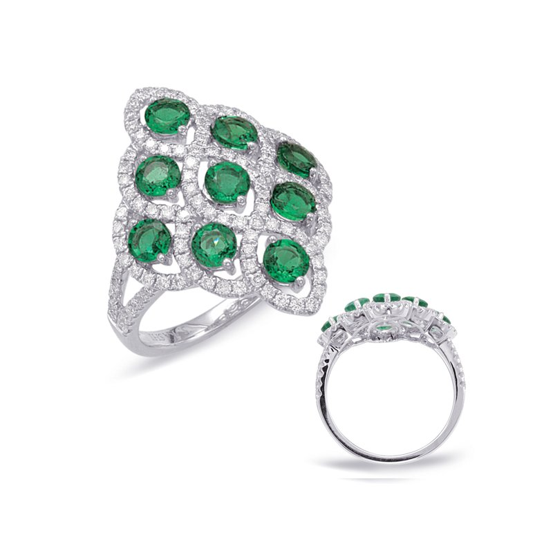 S. Kashi  & Sons Emerald & Diamond Fashion Ring