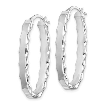 Sterling Silver RH-plated Oval Scalloped Edge 5mm Hoop Earrings
