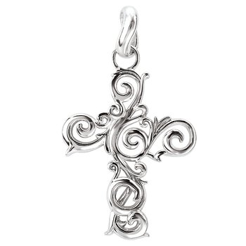 SILVER SWIRL DESIGN CROSS     PENDANT