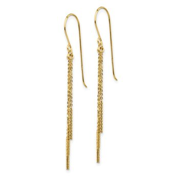 14k Polished Diamond-cut Chain and Bar Shepherd Hook Earrings