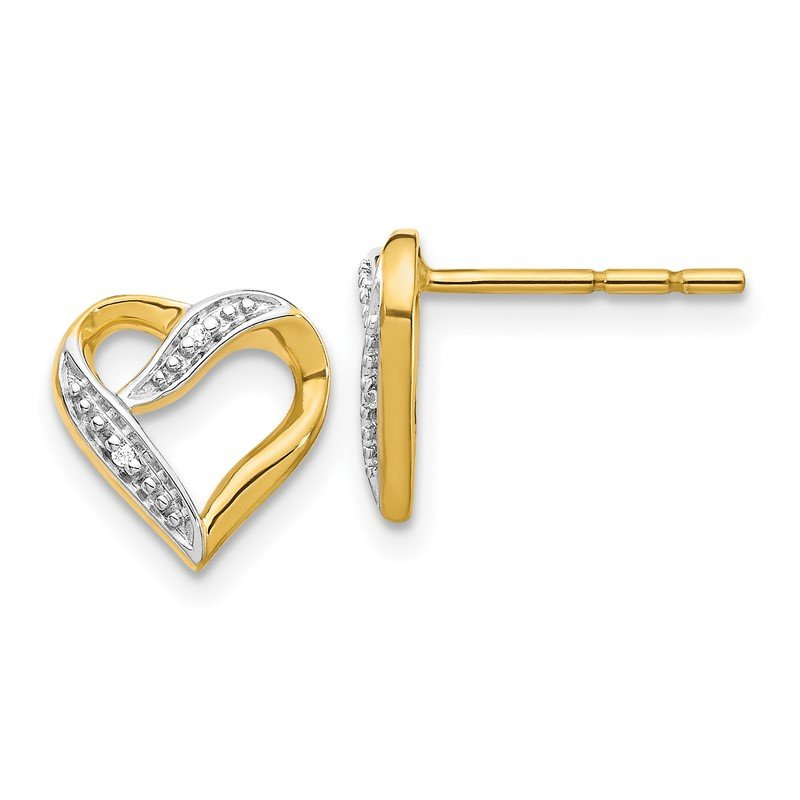 JC Sipe Essentials 14k and Rhodium Marquise Diamond Heart Post Earrings