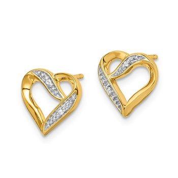 14k and Rhodium Marquise Diamond Heart Post Earrings