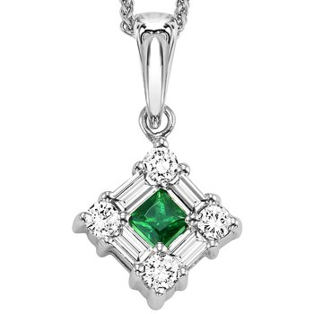 14K Emerald & Diamond Pendant