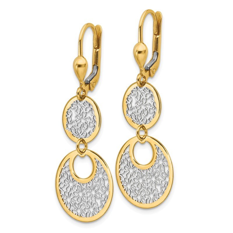 Leslie's Leslie's 14K w/White Rhodium Polished & Textured Leverback Earrings