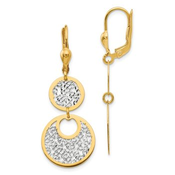 Leslie's 14k w/White Rhodium Polished & Textured Leverback Earrings