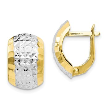 Leslie's 10K w/ Rhodium Diamond-cut Hinged Earrings