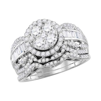 14kt White Gold Womens Round Diamond Cluster Halo Bridal Wedding Engagement Ring Band Set 1-1/2 Cttw
