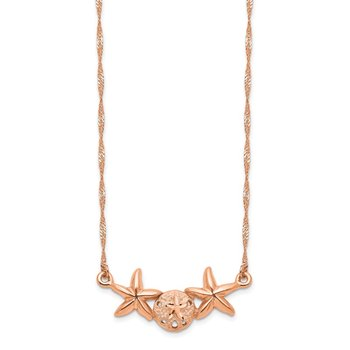 14K Rose Brushed & Polished Sand Dollar Starfish Necklace