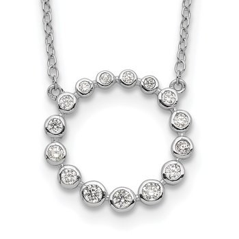 Sterling Silver Rhodium-plated CZ Circle w/2in ext Necklace