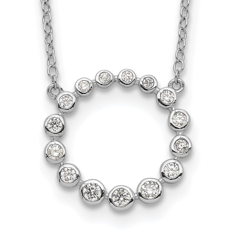 Quality Gold Sterling Silver Rhodium-plated CZ Circle w/2in ext Necklace