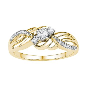 10kt Yellow Gold Womens Round Diamond 3-stone Bridal Wedding Engagement Ring 1/4 Cttw