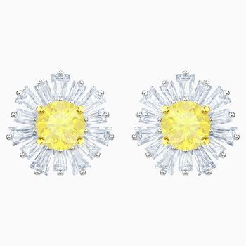 Sunshine Pierced Earrings, White, Rhodium plated