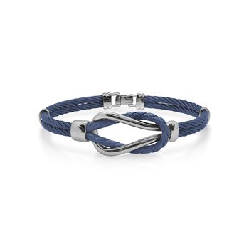 Blueberry Cable & Blue Leather Square Knot Bracelet
