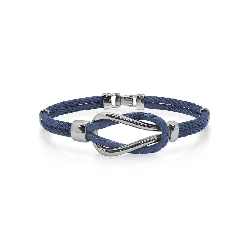 ALOR Blueberry Cable & Blue Leather Square Knot Bracelet