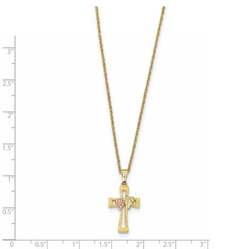 10k Tri-Color Black Hills Gold Crucifix Necklace